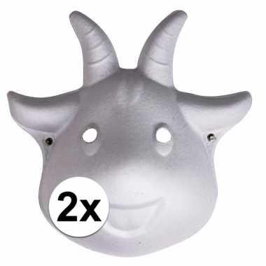 2x papier mache geiten dieren maskers 22 cm