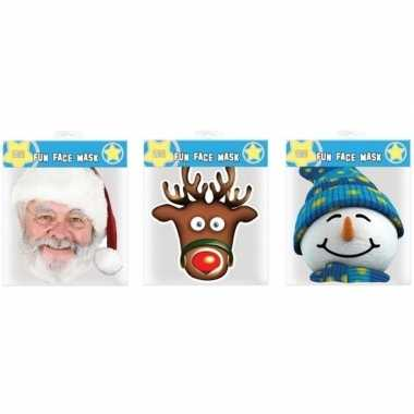 3x kerst thema verkleed dieren maskers