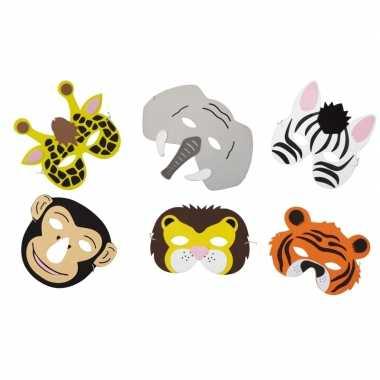6x dieren foam dieren maskers voor kinderen
