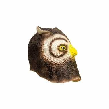 Dieren masker uil van latex