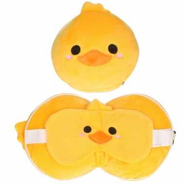 Eend knuffel/reiskussen/slaap dieren masker 3 in 1 voor kinderen