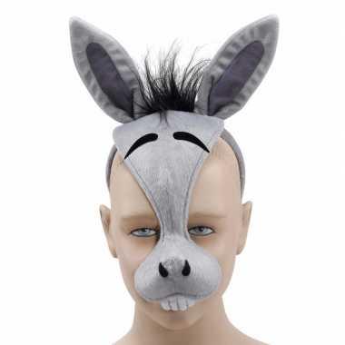 Ezels diadeem dieren masker met geluid