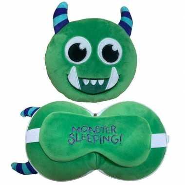 Groen monster knuffel/reiskussen/slaap dieren masker 3 in 1 voor kind