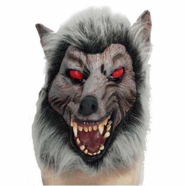 Halloween Weerwolven dieren masker met rode ogen