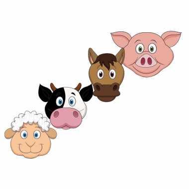 Kartonnen boerderij dieren dieren maskers voor kinderen 4x
