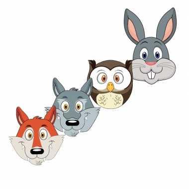 Kartonnen bosdieren dieren maskers voor kinderen 4x