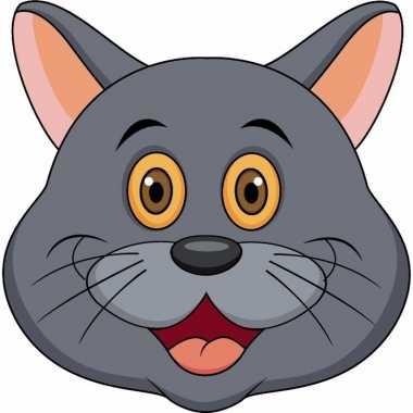 Kartonnen grijze katten/poezen dieren masker voor kinderen