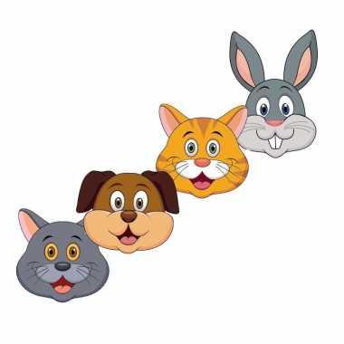 Kartonnen huisdieren dieren maskers voor kinderen 4x