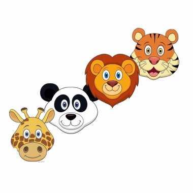 Kartonnen safaridieren dieren maskers voor kinderen 4x