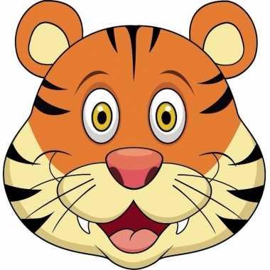 Kartonnen tijger dieren masker voor kinderen
