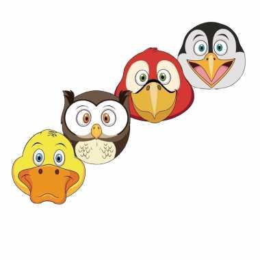 Kartonnen vogel dieren maskers voor kinderen 4x