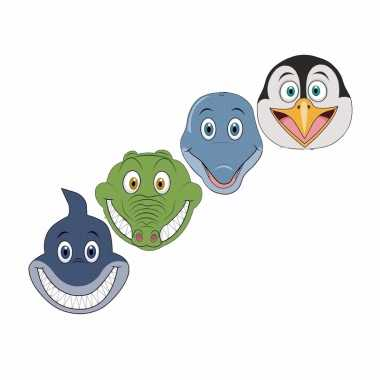 Kartonnen waterdieren dieren maskers voor kinderen 4x