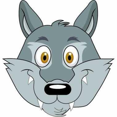 Kartonnen wolven dieren masker voor kinderen