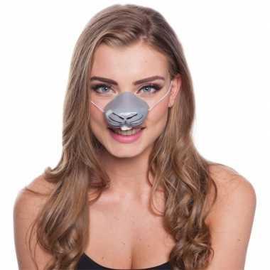Konijn dierenneus dieren masker voor volwassenen