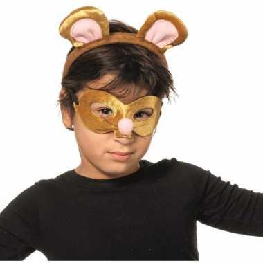 Muizen dieren masker en tiara voor kinderen