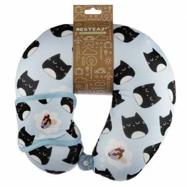 Nekkussen met slaap dieren masker kat/poes print voor kinderen