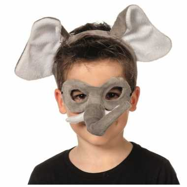 Olifanten dieren masker en tiara voor kinderen