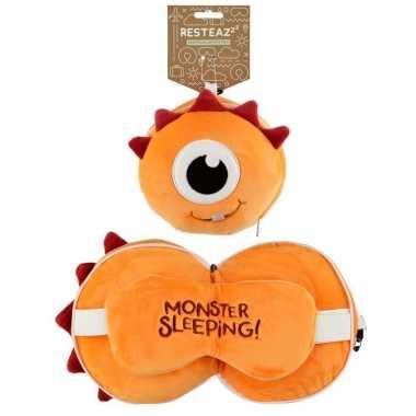 Oranje monster knuffel/reiskussen/slaap dieren masker 3 in 1 voor kin