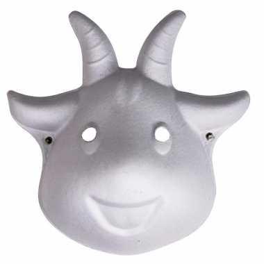 Papier mache dieren masker geit