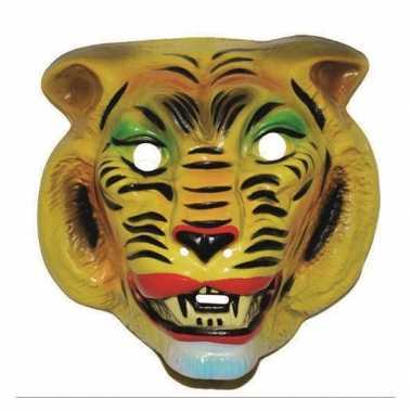 Plastic gele tijger dieren masker voor volwassenen