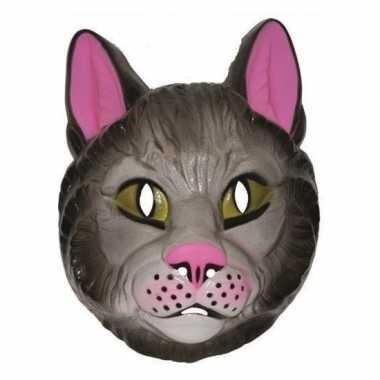 Plastic katten dieren masker voor volwassenen