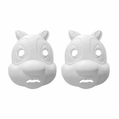 Set van 8x stuks papier mache knutsel dieren maskers eekhoorn