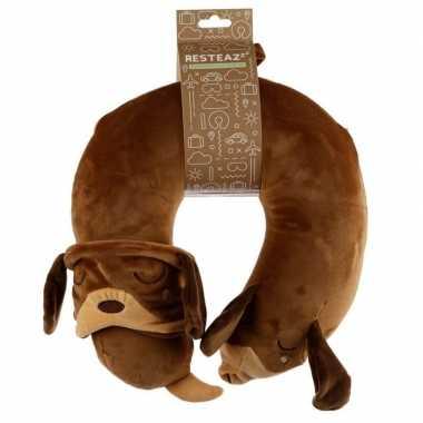 Teckel nekkussen met slaap dieren masker reisset voor kinderen