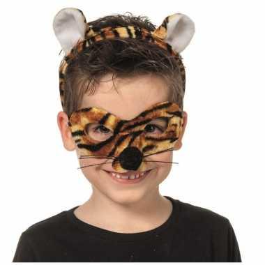 Tijger dieren masker en tiara voor kinderen