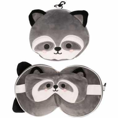 Wasbeer knuffel/reiskussen/slaap dieren masker 3 in 1 voor kinderen