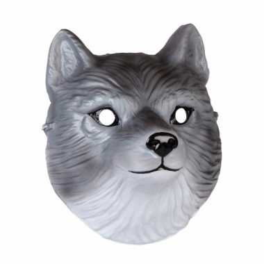 Wolven dieren masker 3d plastic 22cm