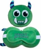 Groen monster knuffel reiskussen slaap dieren masker 3 in 1 voor kinderen