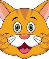 Kartonnen oranje katten poezen dieren masker voor kinderen