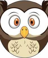 Kartonnen uilen dieren masker voor kinderen