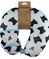 Nekkussen met slaap dieren masker kat poes print voor kinderen