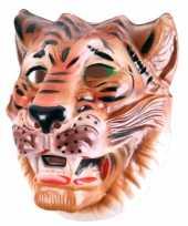 Plastic bruine tijger dieren masker voor volwassenen