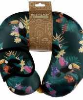 Tropische print nekkussen met slaap dieren masker voor kinderen